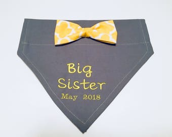 Big Sister, Gender Reveal, Dog Bandana, Pregnancy Reveal, Baby Announcement, New Baby, Photo Shoot, Bow, Dog Lover Gift,  Baby Shower gift,