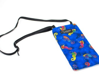 Seahorse fabric Eyeglass Reader Case -with adjustable neck strap lanyard