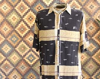 mens rayon pierre cardin shirt . Polynesian print button down, short sleeve shirt size large