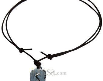 Adjustable leather necklace Self confidence Rune