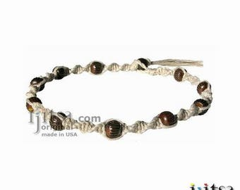 Natural twisted hemp brown bone beads throughout surfer style choker necklace