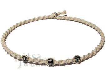 Natural twisted hemp small black bone beads choker necklace