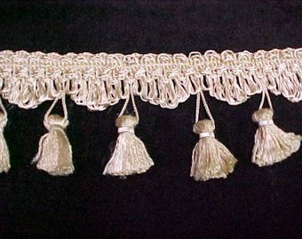 Ivory Fabric Trim Tassel Fringe 8.5yd Lampshades Pillows Throws Upholstery Craft
