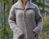 hand knitted mohair cardigan in womens size M ( loose fit)