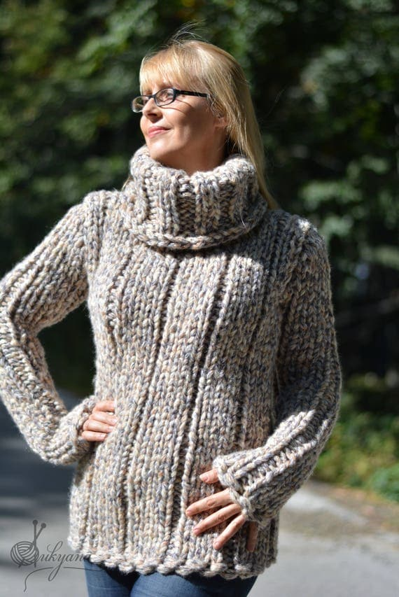 READY handmade wool sweater chunky wool jumper thick wool