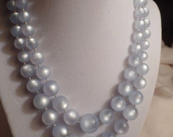 "1950's Powder Blue ""Satinore"" Beads Signed Richelieu"