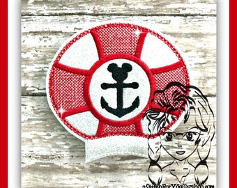 LiFE SaVER ANCHoR Ear (Add On ~ 1 Pc) Mr Miss Mouse Ears Headband ~ In the Hoop ~ Downloadable DiGiTaL Machine Embroidery Design by Carrie