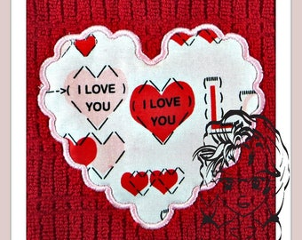 HeART SCaLLOP Applique LOVE ~ Perfect for Valentines ~ Downloadable DiGiTaL Machine Embroidery Design by Carrie