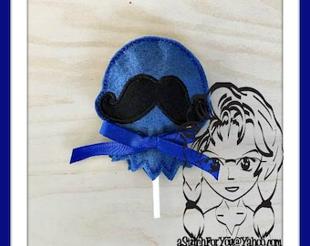 BALLOON MuSTACHE Sucker Cover Lollipop Candy Girl ~ In the Hoop ~ Downloadable DiGiTaL Machine Emb Design by Carrie