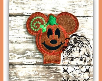 PUMPKIN Mr Mouse Center or Ear (Add On ~ 1 Pc) Mr Ms Mouse Ears Headband ~ In the Hoop ~ Downloadable DiGiTaL Machine Emb Design by Carrie