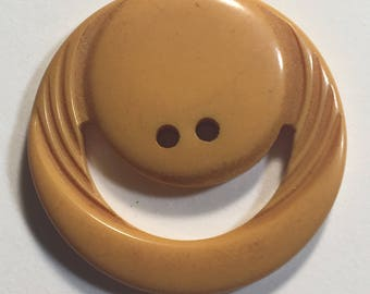 Vintage Large Bakelite Cream Smiley or Moon Button