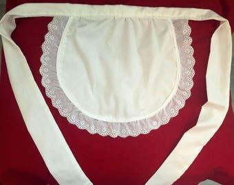 Women's white ruffled apron