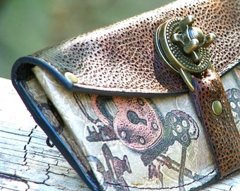 Women's Steampunk Brown Leather Wallet with Heart Lock and Key Design and Antique Brass Hardware - Made To Order