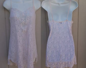 80s Vintage Pink Sheer Stretch Lace Mini Chemise / Short slip nightgown / size Med
