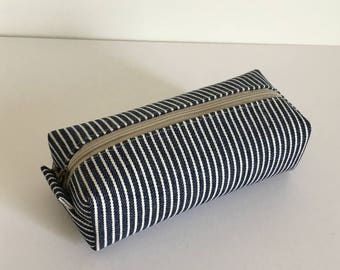 Long box pouch - denim stripe navy