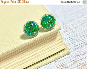 Christmas in July SALE. Fun Sparkling Glitter Resin Festive Christmas Tree Green with Colorful Ornament Style Sparkles Stud Earrings with Su