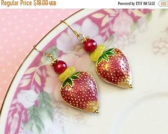 SALE Strawberry Earrings, Cloisonne Earrings, Red Fruit Earrings, Whimsical Drop Earrings, Metal Strawberry Earrings, Handmade By KreatedByK