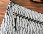 Traverse Crossbody Bag - Gray and Black Stripes - Ready to Ship