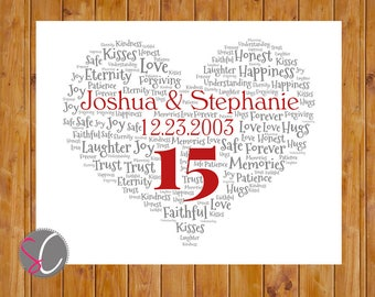 Anniversary Heart Word Art Personalized Wall Decor Wedding Anniversary Gift Print Your Own 8x10 Personalized Digital JPG File (wa-5)