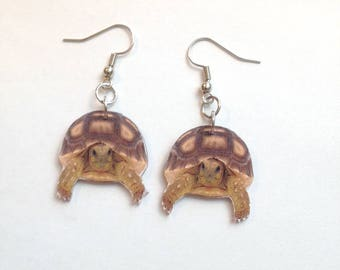 Handcrafted Plastic Sulcata Tortoise Earrings Made in USA