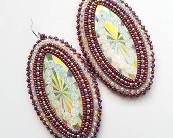 Native American Beaded Earrings Maroon