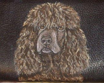 Irish Water Spaniel Dog Custom Painted Ladies' Leather Wallet