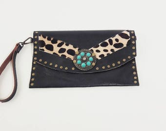 SALE Black Recycled Leather Clutch with Leopard Calfhair and Vintage Adornment