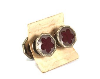 Antique Art Deco Snap Cufflinks Double Sided Silver Toned Gray Red Celluloid Cuff Links Circa 1920