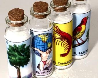 Margarita Salt Sampler Mexican Wedding Favors Loteria Glass Bottles Finishing Salt