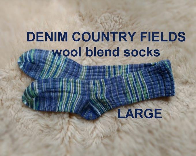 Denim Country Fields Socks --- washable wool blend --- LARGE