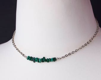 Malachite necklace - Green gem silver necklace   Simple gemstone chip necklace   Malachite jewellery   Raw malachite chipstone jewelry