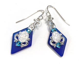 Cobalt Blue Stained Glass Earrings White Glass Opal and Crystal