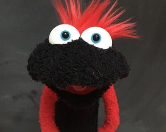 Sock Puppet Creature, Hand and Rod Puppet, Red Hair, Black Body, Blue Eyes, Arm Rods