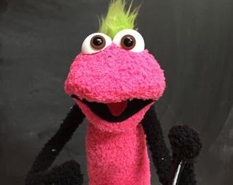 Sock Puppet Monster, Hand and Rod Puppet, Pink Puppet, Green Mohawk, Arm Rods