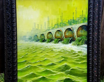 RW2 Original Water painting surreal pollution lowbrow outsider art fantasy environmental post Apocalyptic factory