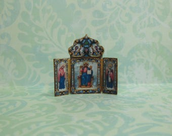 Dollhouse Miniature Icon Triptych Mantel decoration