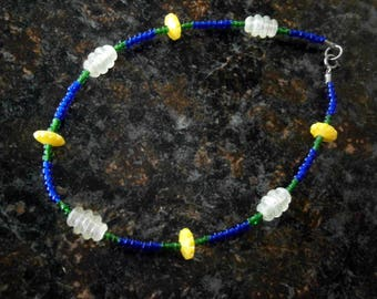Beaded Ankle Bracelet Seed Beads in Blue Yellow Green, 9 inches, OOAK, Willow Glass