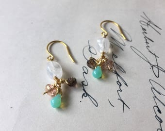 Moonstone and Glass Earrings. Sweet Cluster Drop Pastel Multicolor Earrings