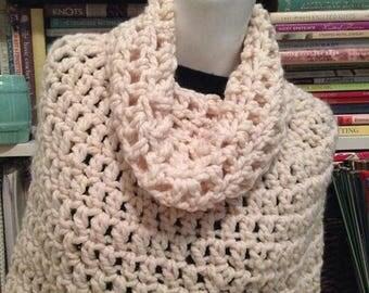 SALE Cream Chunky Crochet Bennington Capelet Cowl Poncho