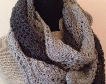 SALE Steel, Graphite and Pale Gray, Shades of Gray Infinity Scarf, Endless Loop Scarf, Chunky Cowl,