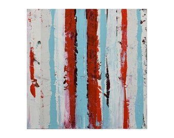 "ORIGINAL Abstract Painting ""Aqua 18"" by Lisa Carney, Modern Art, Minimalist Painting, Stripes, Geometric, Contemporary, White, Red, Blue"