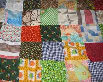 Vintage Quilt, Handmade Blanket, Cover, Pieced Patchwork Quilt, Vintage Fabric, No quilting