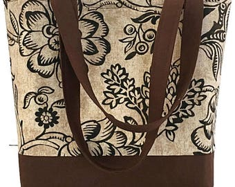 Brown Floral Tote bag, Market bag, Work tote bag, Knitting bag, Crochet Tote, Travel Tote bag, Gift for her, Craft Tote bag, Deesdeezigns