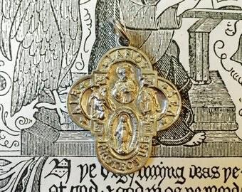 SALE FOUR WAY Cross Vintage Religious Medal Air Land Sea Catholic