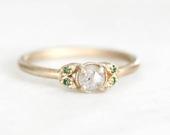 14k quintet rose cut diamond ring, rosecut diamond, green diamond, gray diamond, eco friendly