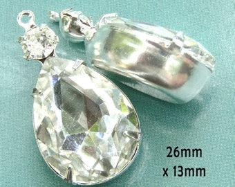 Crystal Glass Beads - Framed Glass Pendants or Earring Drops - 18x13 Teardrop - 26mm x 13mm - Rhinestone Glass Gems - One Pair
