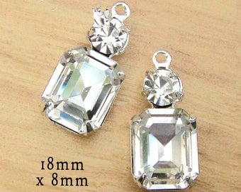 Crystal Glass Beads - Octagons in Silver or Brass Settings - 18mm x 8mm - Rhinestone Earrings or Charms - 10x8 Octagon - One Pair