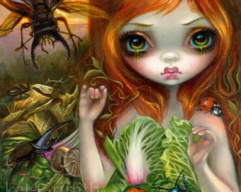 Insectarium I: Beetles art print by Jasmine Becket-Griffith 8x10 goliath beetle bug beatle vegetables cabbage artichoke garden