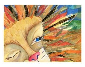 Lion Print high quality giclee art animal illustration Lauren Ingraham