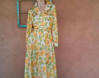 ON SALE Vintage 1970s Dress Blouse Maxi Skirt 70s Vanity Fair Hostess Loungewear 2 Piece Sz S